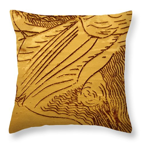 Jesus Throw Pillow featuring the ceramic art I See - Tile by Gloria Ssali