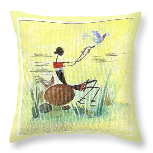 Folk Art Throw Pillow featuring the painting I Set You Free by Chintaman Rudra