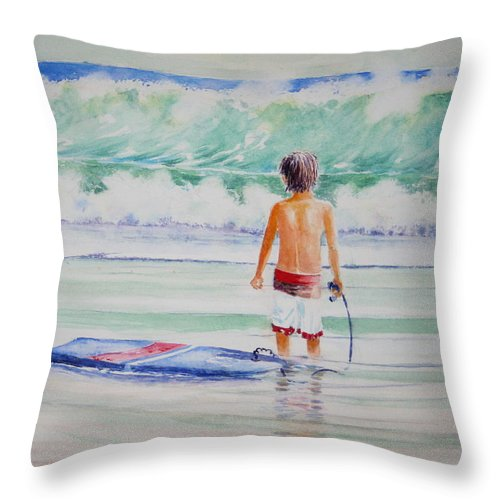 Sea Scape Throw Pillow featuring the painting I Think I Will Wait For Dad. by Tom Harris