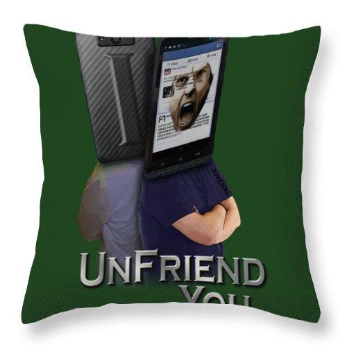 Canvas Prints Throw Pillow featuring the digital art I Unfriend You by Joseph Juvenal