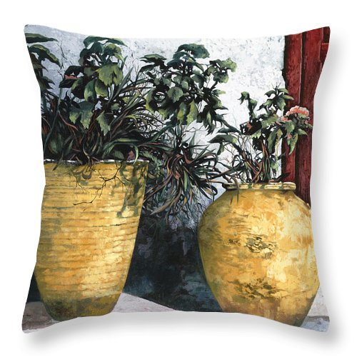 Vases Throw Pillow featuring the painting I Vasi by Guido Borelli
