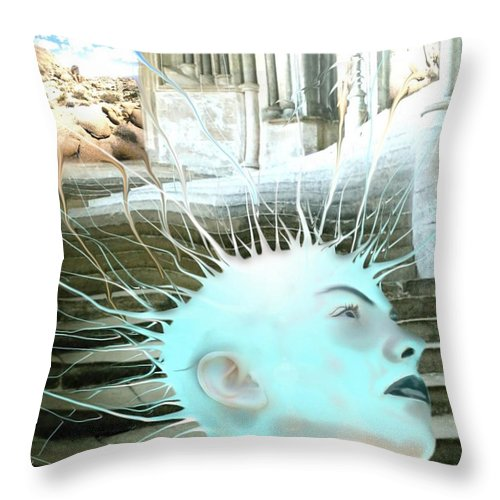 Thoughts Stairs Energy Space Throw Pillow featuring the digital art I by Veronica Jackson