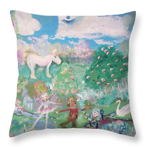 Rabbit Throw Pillow featuring the painting I Want To Be There by Judith Desrosiers
