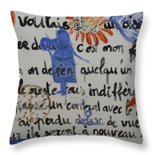 Poem.2006 Throw Pillow featuring the painting I Wanted To Be. by Coco de la garrigue