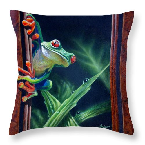 Green Tree Frog Throw Pillow featuring the painting 'i Was Framed' by Greg and Linda Halom