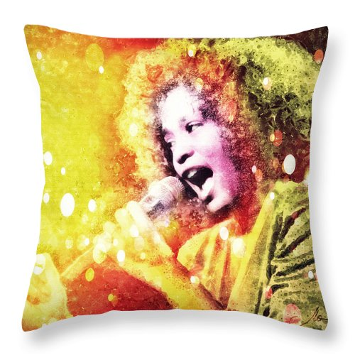 Whitney Houston Throw Pillow featuring the digital art I Will Always Love You by Mo T