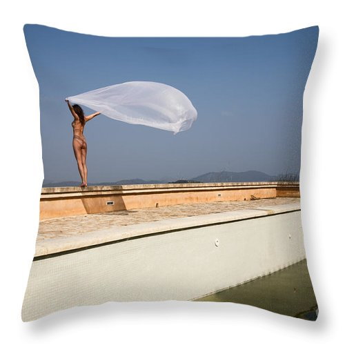Sensual Throw Pillow featuring the photograph I Will Fly To You by Olivier De Rycke