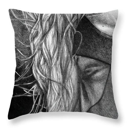 Drawing Throw Pillow featuring the digital art I Will Remain Still Dreaming, 2017, 50-70cm, Graphite Crayon On Paper by Oana Unciuleanu