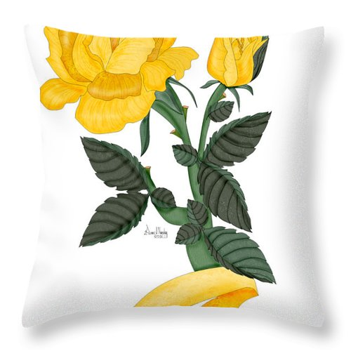 Yellow Rose Throw Pillow featuring the painting I Will Remember by Anne Norskog