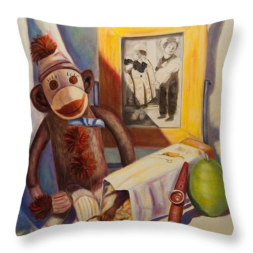 Children Throw Pillow featuring the painting I Will Remember You by Shannon Grissom