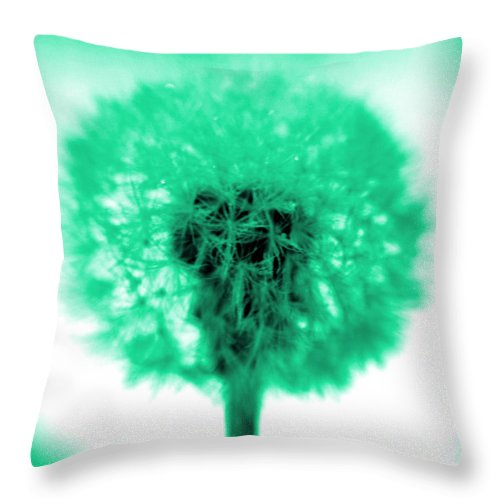 Dandelion Throw Pillow featuring the photograph I Wish In Aqua by Valerie Fuqua