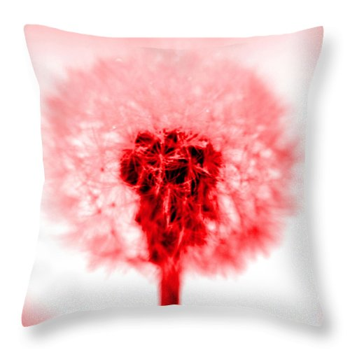 Dandelion Throw Pillow featuring the photograph I Wish In Red by Valerie Fuqua