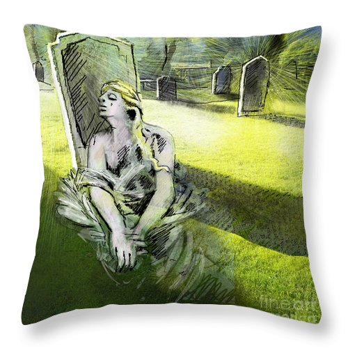 Painting All Saints Day Graves Flowers Throw Pillow featuring the painting I Wish You Were Here by Miki De Goodaboom