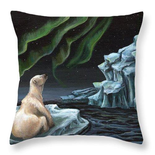 Ice Throw Pillow featuring the painting I Wonder... by Mona Davis