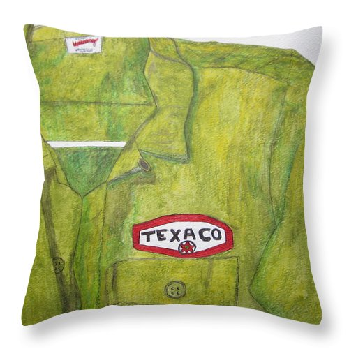 Vintage Throw Pillow featuring the painting I Worked At Texaco by Kathy Marrs Chandler