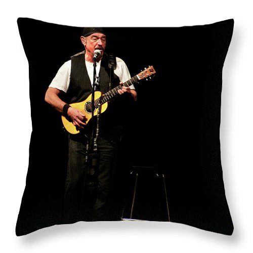 Juthro Tull Throw Pillow featuring the photograph Ian Anderson Of Juthro Tull Live Concert by Michalakis Ppalis
