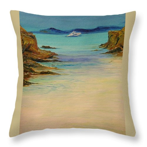 Seascape Original Painting Throw Pillow featuring the painting Ibiza In The Distance.... by Lizzy Forrester