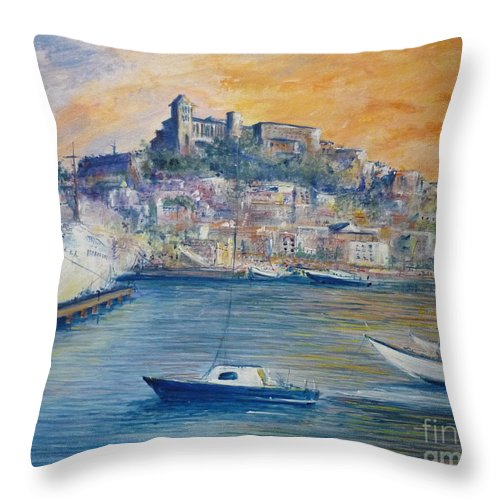 Marina Throw Pillow featuring the painting Ibiza Old Town Marina And Port by Lizzy Forrester