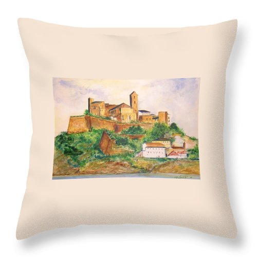 Landscape Throw Pillow featuring the painting Ibiza Old Town Unesco Site by Lizzy Forrester