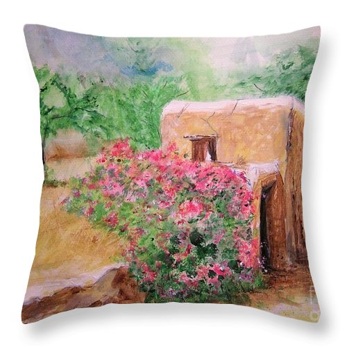 Rustic Throw Pillow featuring the painting Ibiza Rustica by Lizzy Forrester