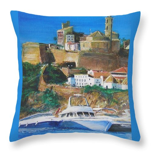 Original Landscape Painting Throw Pillow featuring the painting Ibiza Town by Lizzy Forrester