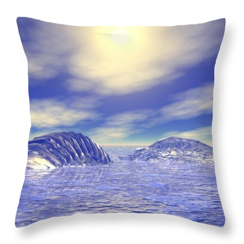 Digital Throw Pillow featuring the digital art Ice Caps by Gina Lee Manley