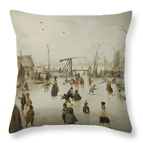 Painting Throw Pillow featuring the painting Ice by Hendrick Avercamp