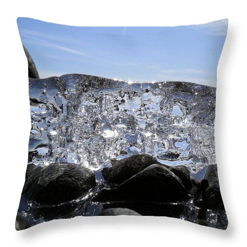 Ice Throw Pillow featuring the photograph Ice On Rocks 3 by Sami Tiainen