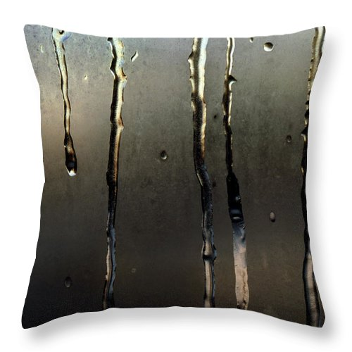 Macro Throw Pillow featuring the photograph Ice On Window 2 by Lee Santa