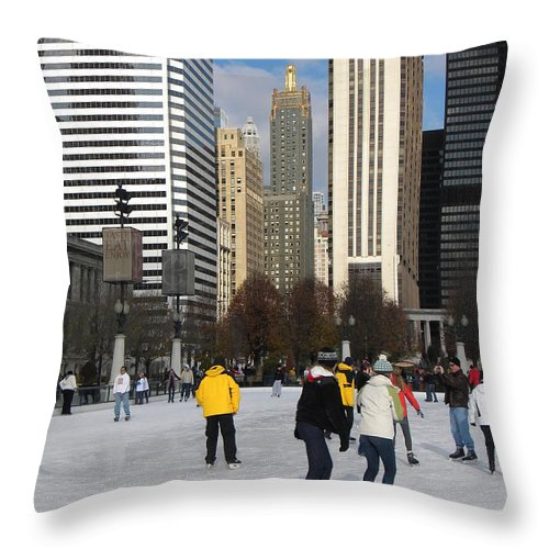 Cityscene Throw Pillow featuring the photograph Ice Skating In The Park by Jan Gilmore
