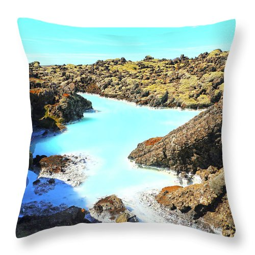 Iceland Throw Pillow featuring the photograph Iceland Blue Lagoon Healing Waters by Betsy Knapp