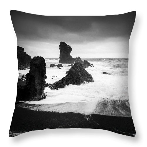 Iceland Throw Pillow featuring the photograph Iceland Dritvik beach and cliffs dramatic black and white by Matthias Hauser