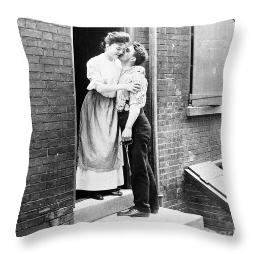 19th Century Throw Pillow featuring the photograph Iceman & Housewife by Granger