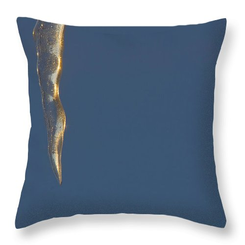 Blue Throw Pillow featuring the photograph Icicle In Blue by Steve Somerville