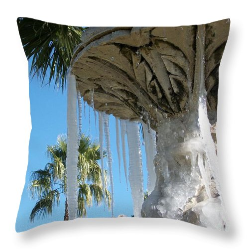 Color Photography By Heather J. Kirk And Photographic Artistry. Print On Photo Paper Throw Pillow featuring the photograph Icicles in a Palm Filled Sky Number 1 by Heather Kirk
