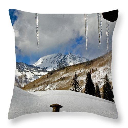 Winter Landscape Throw Pillow featuring the photograph Icicles In East Vail by David Salter