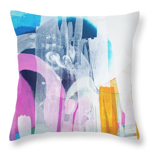 Abstract Throw Pillow featuring the painting Icing On The Cake by Claire Desjardins