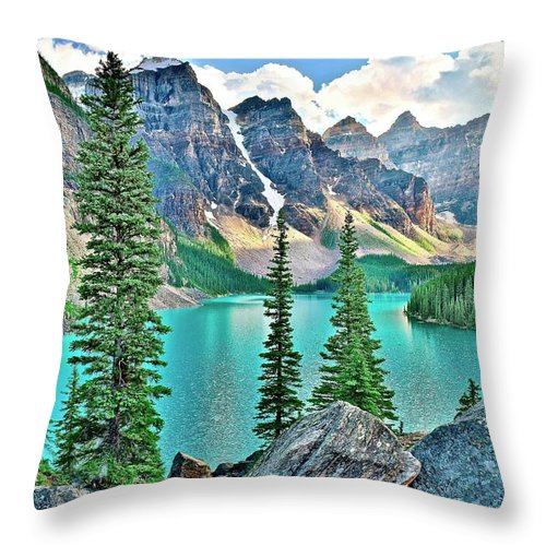Moraine Throw Pillow featuring the photograph Iconic Banff National Park Attraction by Frozen in Time Fine Art Photography