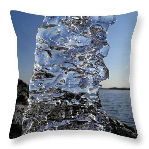 Beach Throw Pillow featuring the photograph Icy Beach View 3 by Sami Tiainen