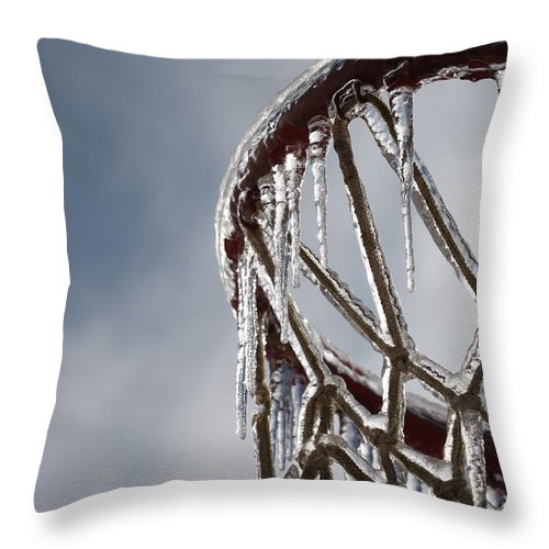 Basketball Throw Pillow featuring the photograph Icy Hoops by Nadine Rippelmeyer