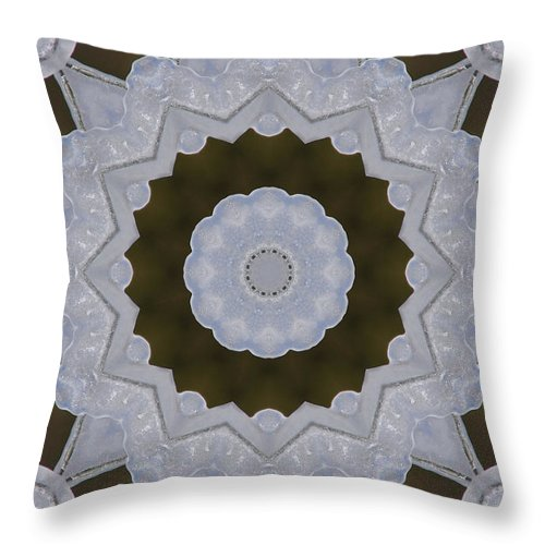 Texas Throw Pillow featuring the photograph Icy Lace Kaleidoscope by Robyn Stacey
