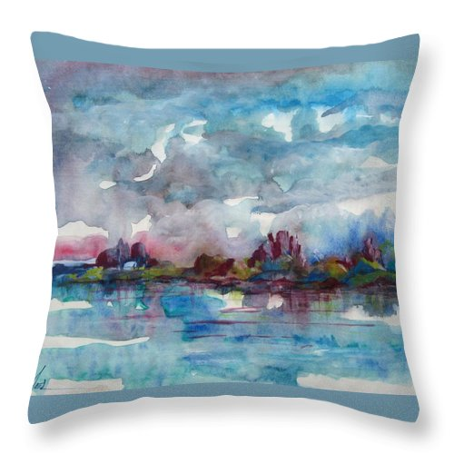 Cool Throw Pillow featuring the painting Icy Lake by Melody Horton Karandjeff