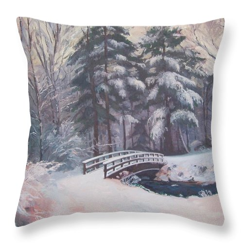 Landscape Throw Pillow featuring the painting Icy Stream by Dianne Panarelli Miller