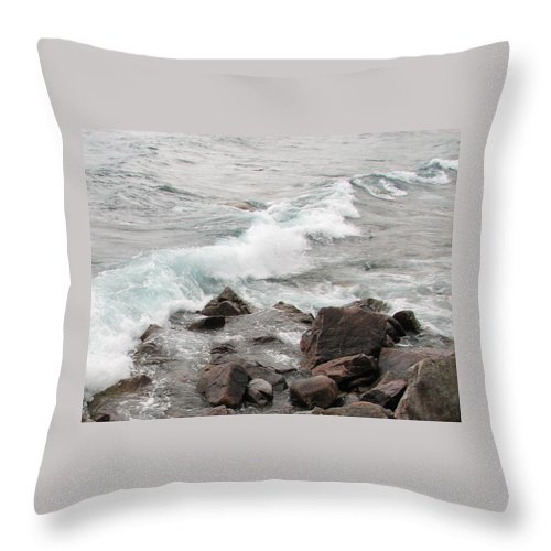 Wave Throw Pillow featuring the photograph Icy Waves by Kelly Mezzapelle