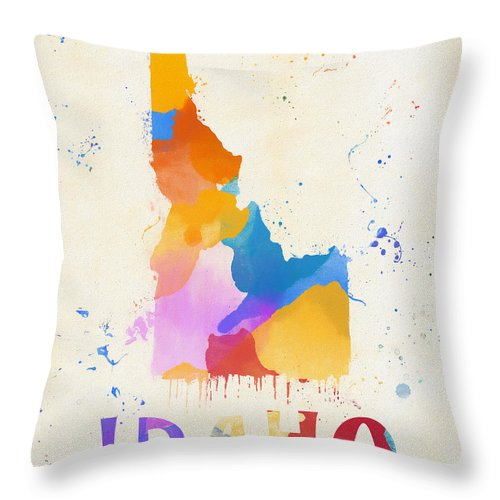 Idaho Watercolor Map Throw Pillow featuring the painting Idaho Watercolor Map by Dan Sproul