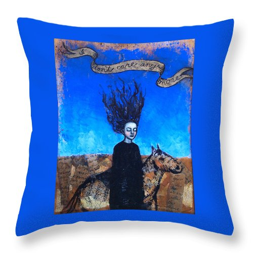Throw Pillow featuring the painting Idontcareanymore by Pauline Lim