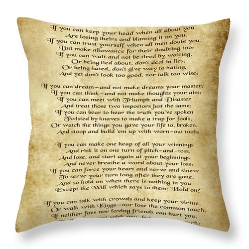 If By Rudyard Kipling Throw Pillow featuring the digital art If By Rudyard Kipling - Parchment Style by Ginny Gaura