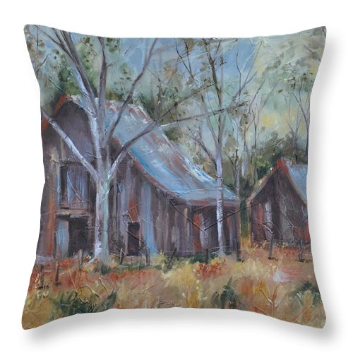 Barns Throw Pillow featuring the painting If They Could Speak by Ginger Concepcion