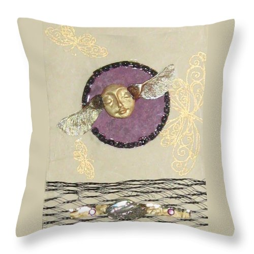 Collage Throw Pillow featuring the mixed media If Thoughts Had Wings by Ellen Miffitt