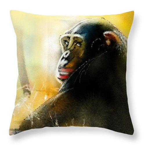 Chimp Throw Pillow featuring the painting If You Ask Me Out... by Miki De Goodaboom